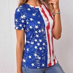 Women's American Flag  print short sleeve t shirt